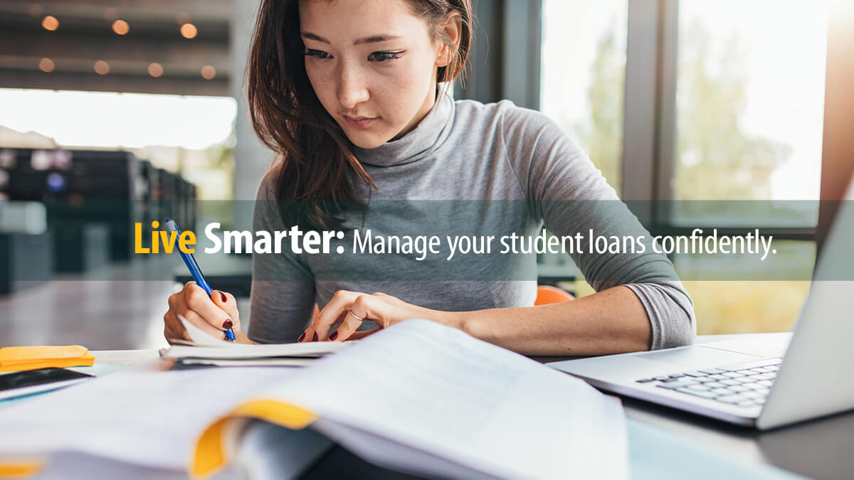 College student studies after paying for college with an undergraduate loan